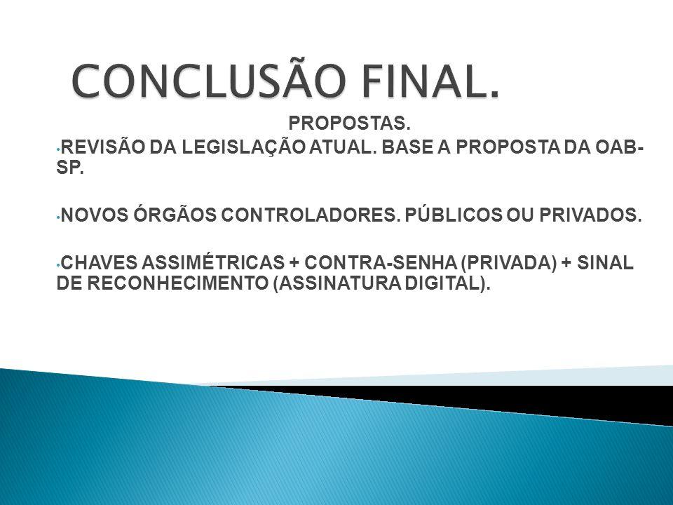 CONCLUSÃO FINAL. PROPOSTAS.