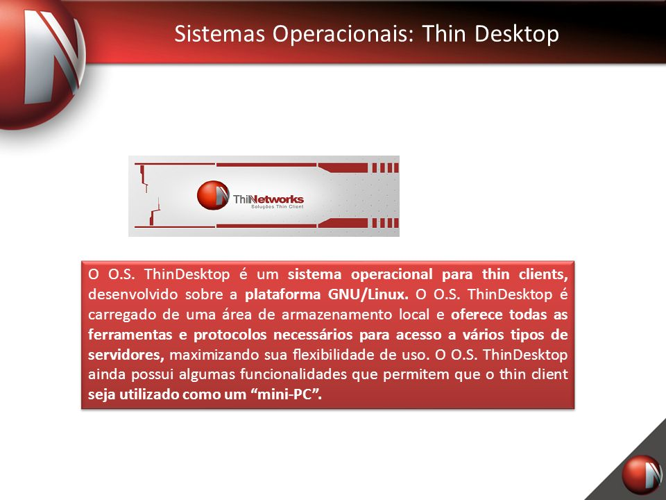 Sistemas Operacionais: Thin Desktop