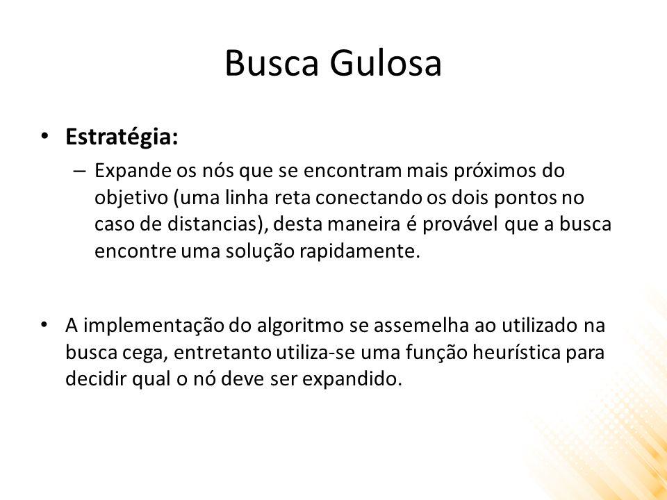 Busca Gulosa Estratégia: