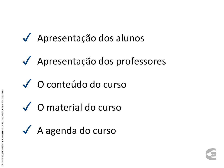 Apresentação dos alunos Apresentação dos professores