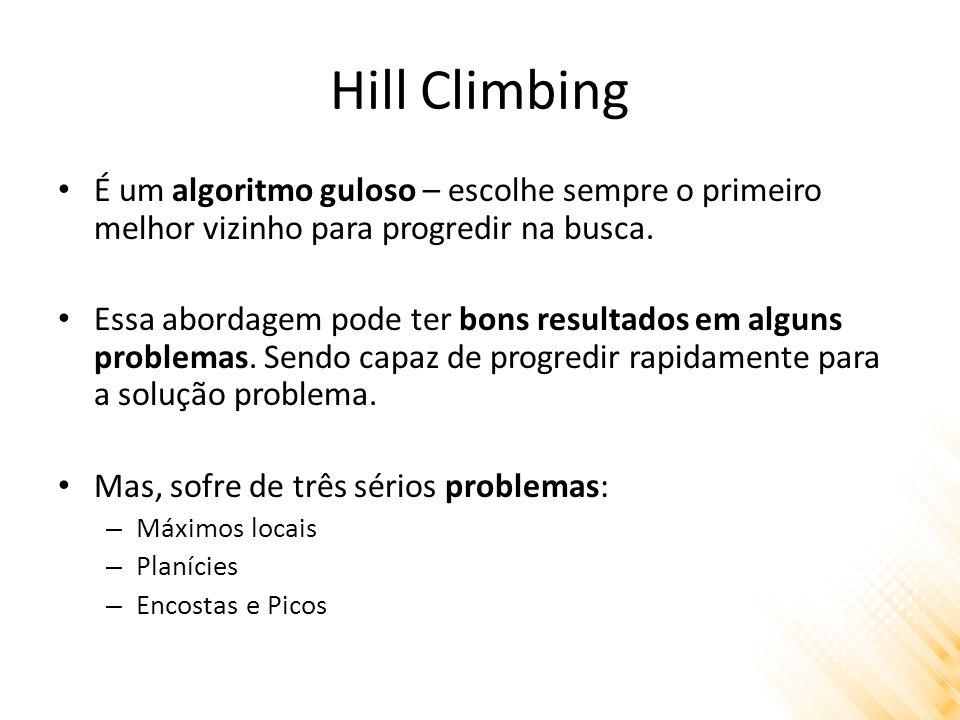 Hill Climbing É um algoritmo guloso – escolhe sempre o primeiro melhor vizinho para progredir na busca.