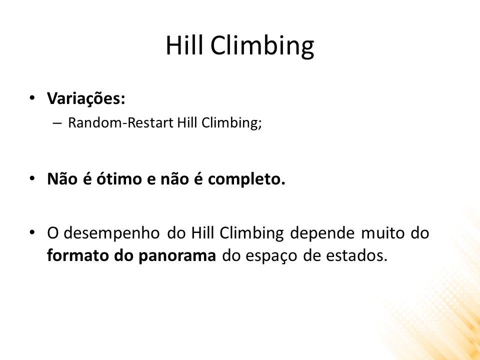 Hill Climbing Variações: Não é ótimo e não é completo.