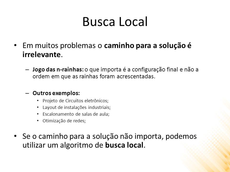 Busca Local Em muitos problemas o caminho para a solução é irrelevante.