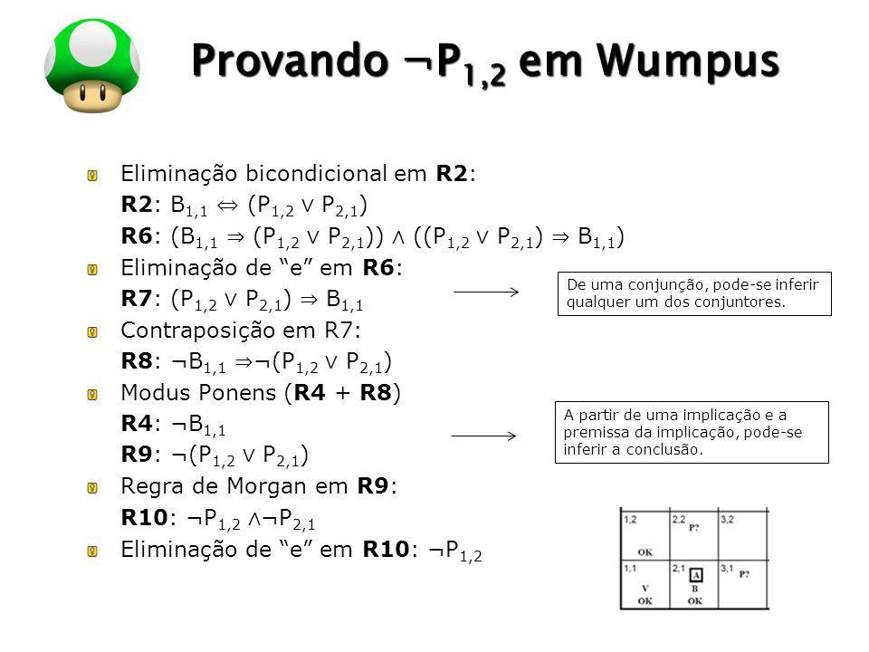 Provando ¬P1,2 em Wumpus Eliminação bicondicional em R2: