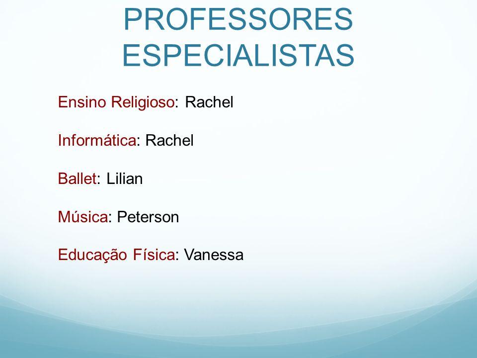 PROFESSORES ESPECIALISTAS