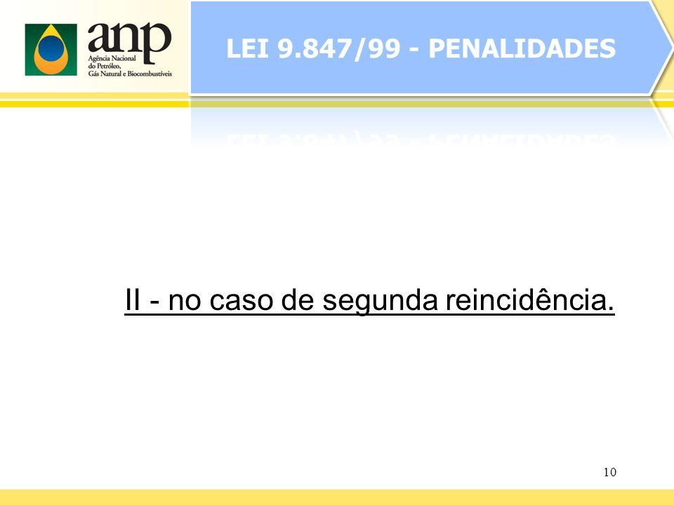 LEI 9.847/99 - PENALIDADES II - no caso de segunda reincidência.