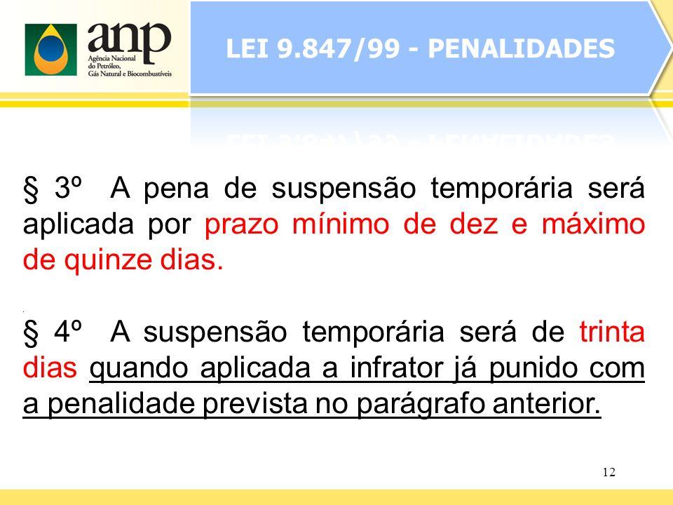 LEI 9.847/99 - PENALIDADES § 3º A pena de suspensão temporária será aplicada por prazo mínimo de dez e máximo de quinze dias.