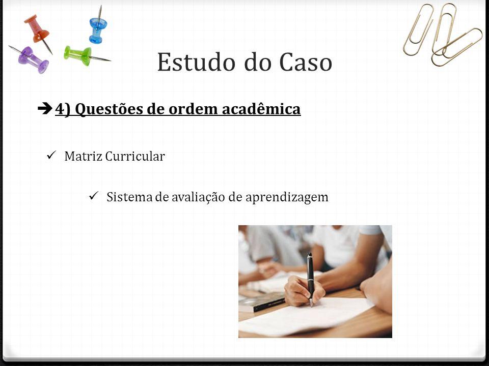 Estudo do Caso 4) Questões de ordem acadêmica Matriz Curricular