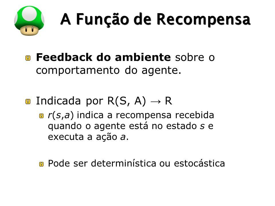A Função de Recompensa Feedback do ambiente sobre o comportamento do agente. Indicada por R(S, A) → R.