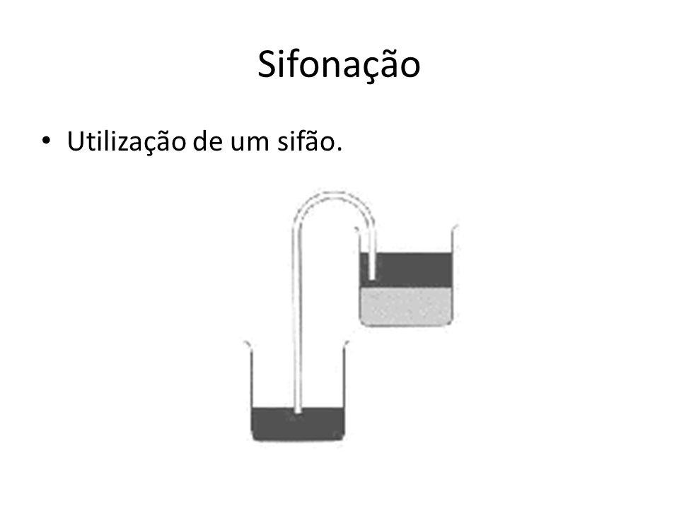 Sifonação Utilização de um sifão.