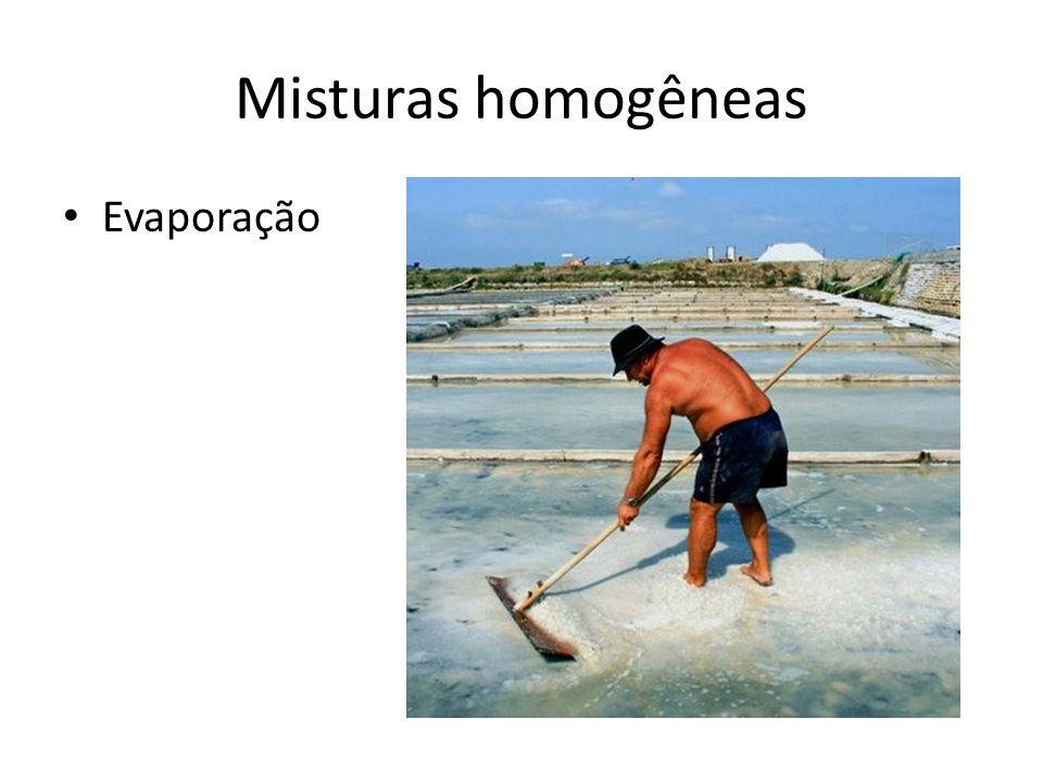 Misturas homogêneas Evaporação