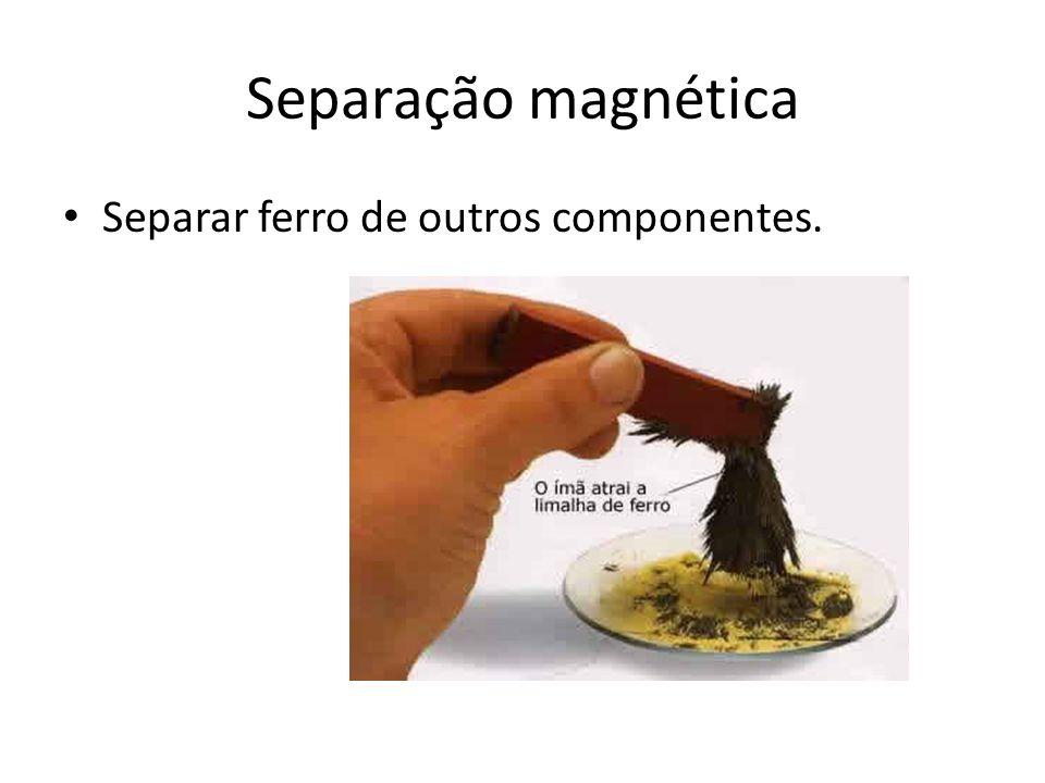 Separação magnética Separar ferro de outros componentes.