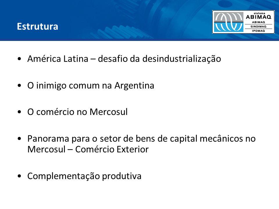 Estrutura América Latina – desafio da desindustrialização