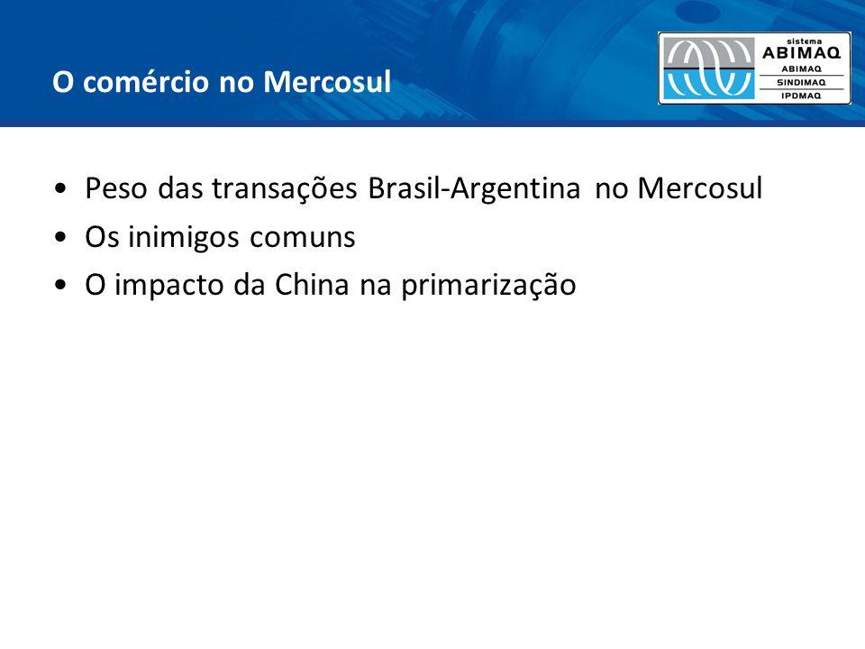 O comércio no Mercosul Peso das transações Brasil-Argentina no Mercosul.