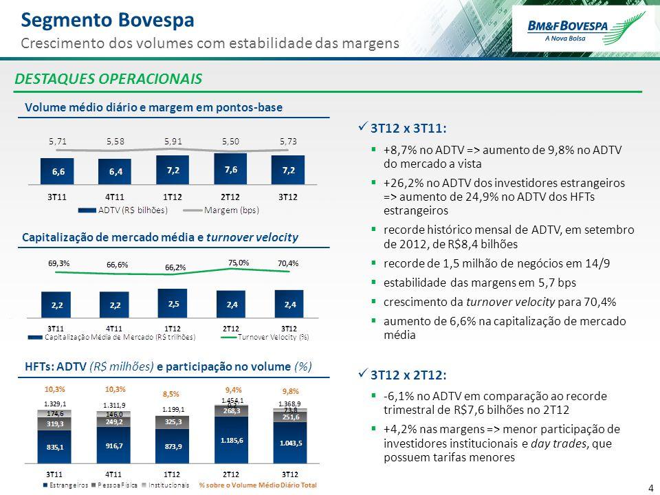 Segmento Bovespa Crescimento dos volumes com estabilidade das margens