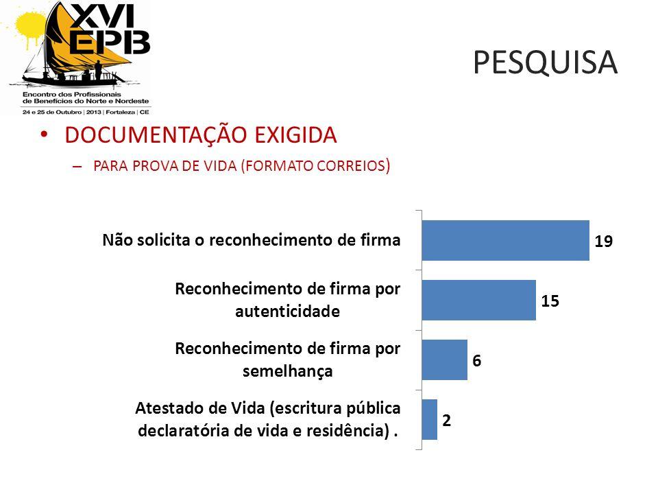 PESQUISA DOCUMENTAÇÃO EXIGIDA PARA PROVA DE VIDA (FORMATO CORREIOS)