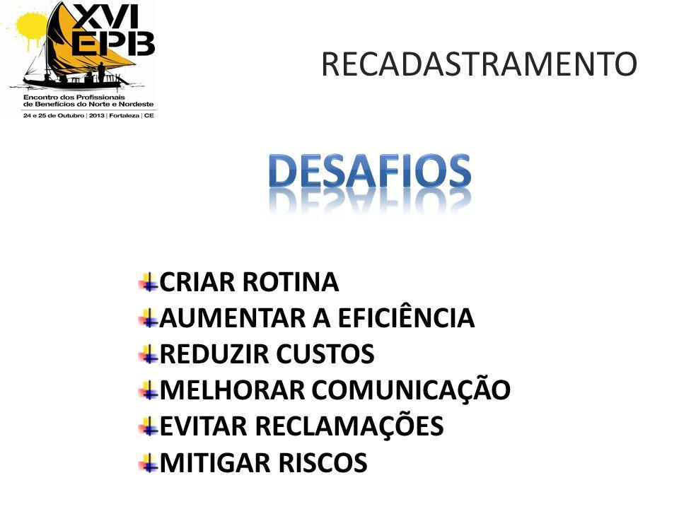DESAFIOs RECADASTRAMENTO CRIAR ROTINA AUMENTAR A EFICIÊNCIA