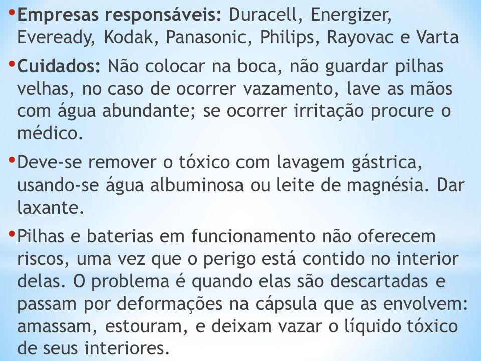 Empresas responsáveis: Duracell, Energizer, Eveready, Kodak, Panasonic, Philips, Rayovac e Varta