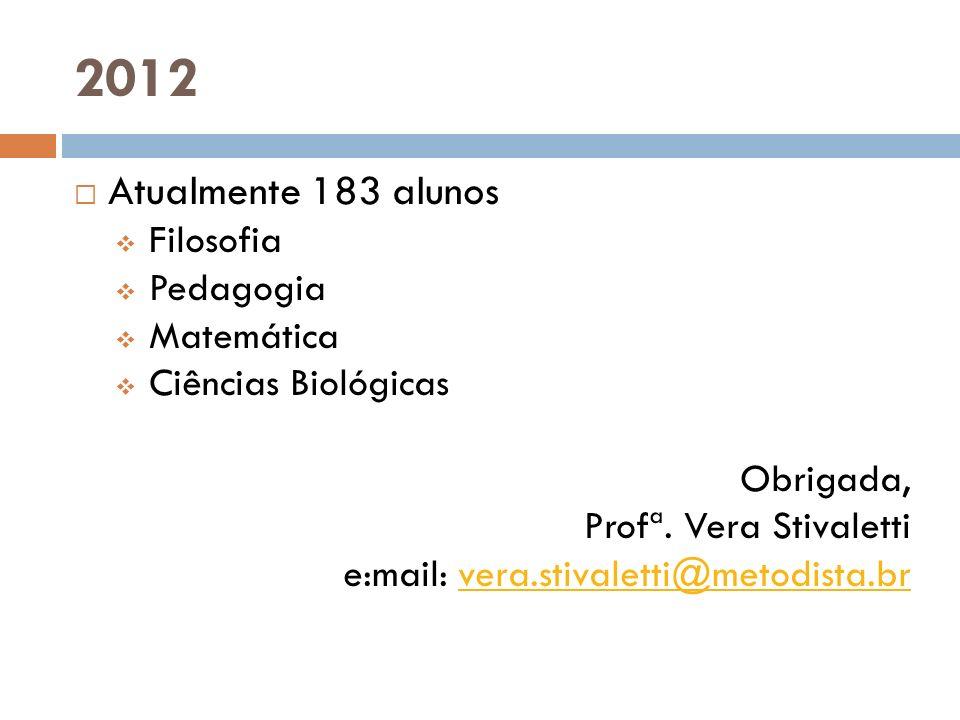 2012 Atualmente 183 alunos Filosofia Pedagogia Matemática