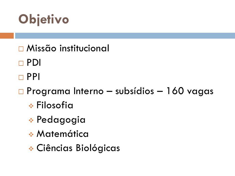 Objetivo Missão institucional PDI PPI