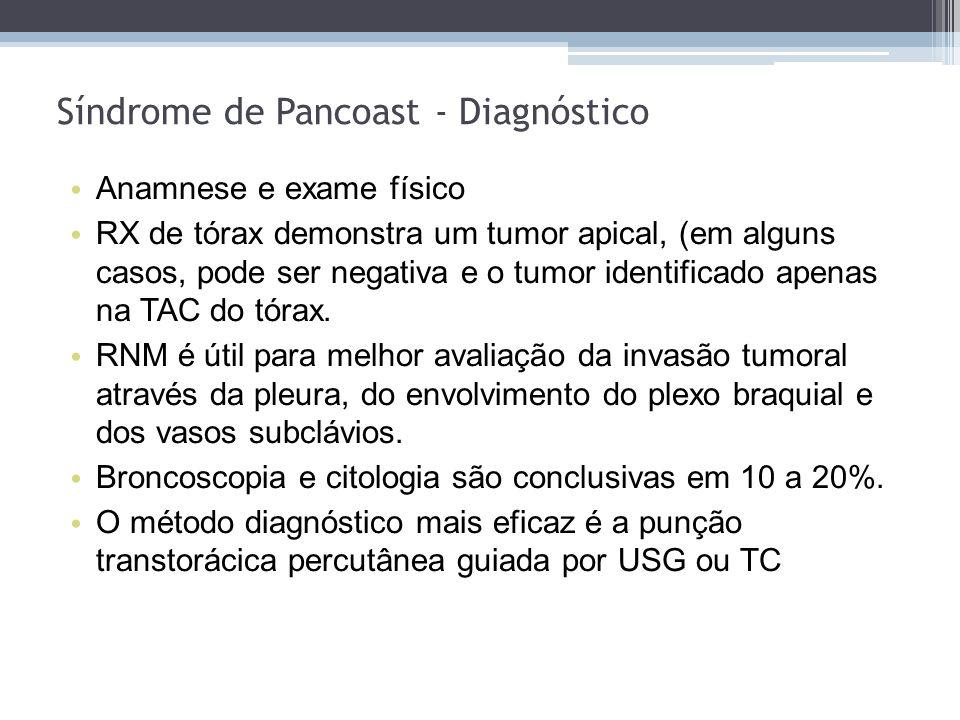 Síndrome de Pancoast - Diagnóstico