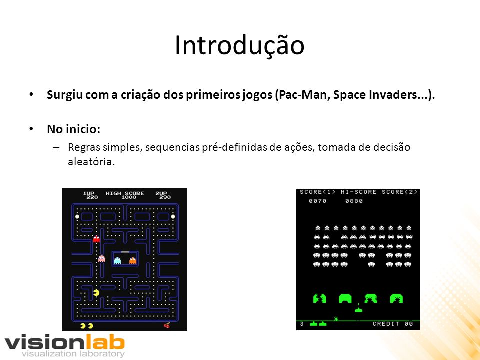 Introdução Surgiu com a criação dos primeiros jogos (Pac-Man, Space Invaders...). No inicio: