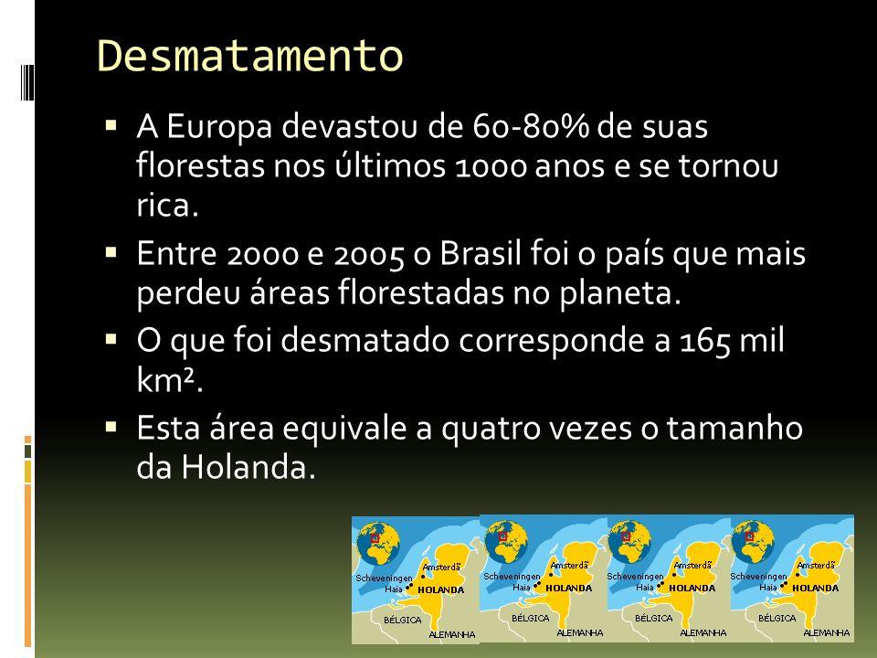 Desmatamento A Europa devastou de 60-80% de suas florestas nos últimos 1000 anos e se tornou rica.