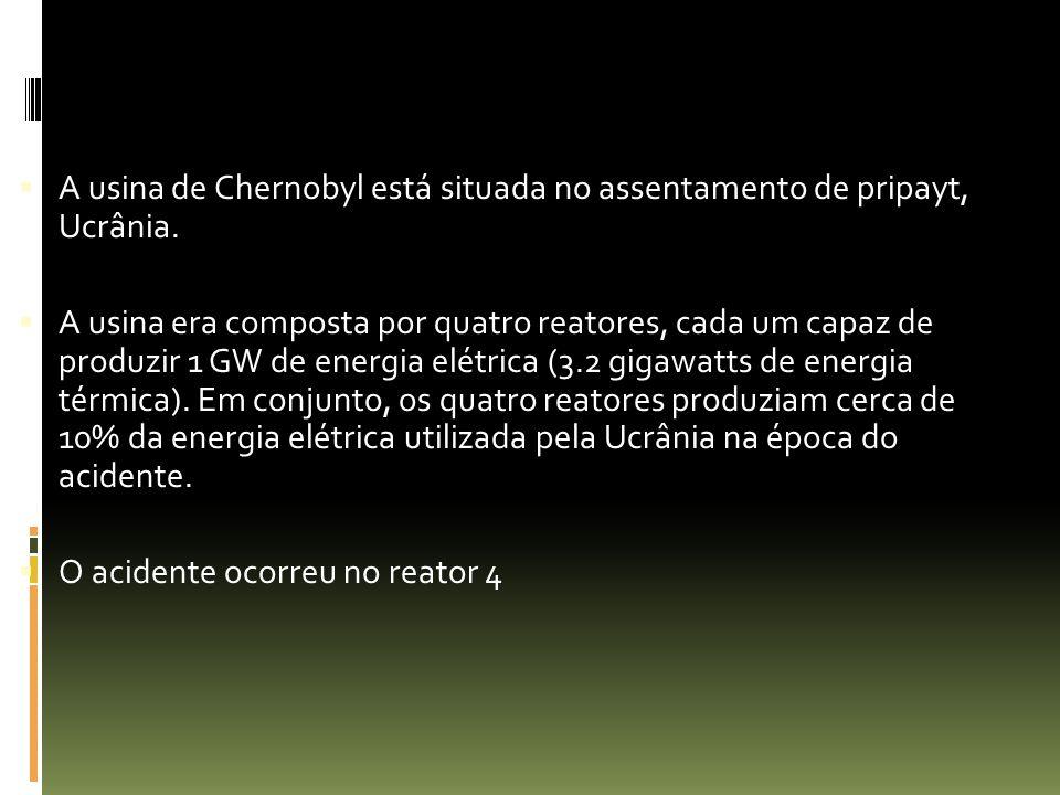 A usina de Chernobyl está situada no assentamento de pripayt, Ucrânia.