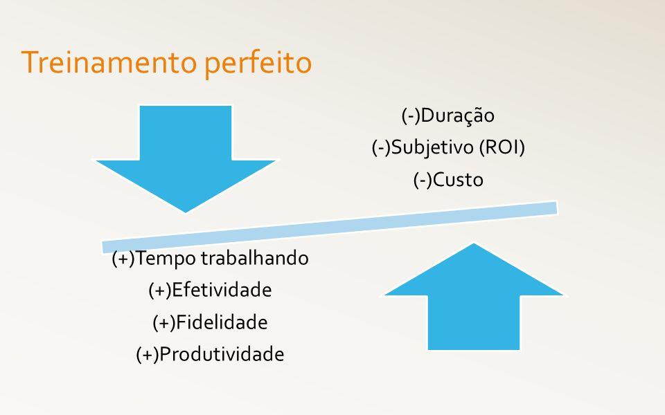 Treinamento perfeito (-)Duração (-)Subjetivo (ROI) (-)Custo