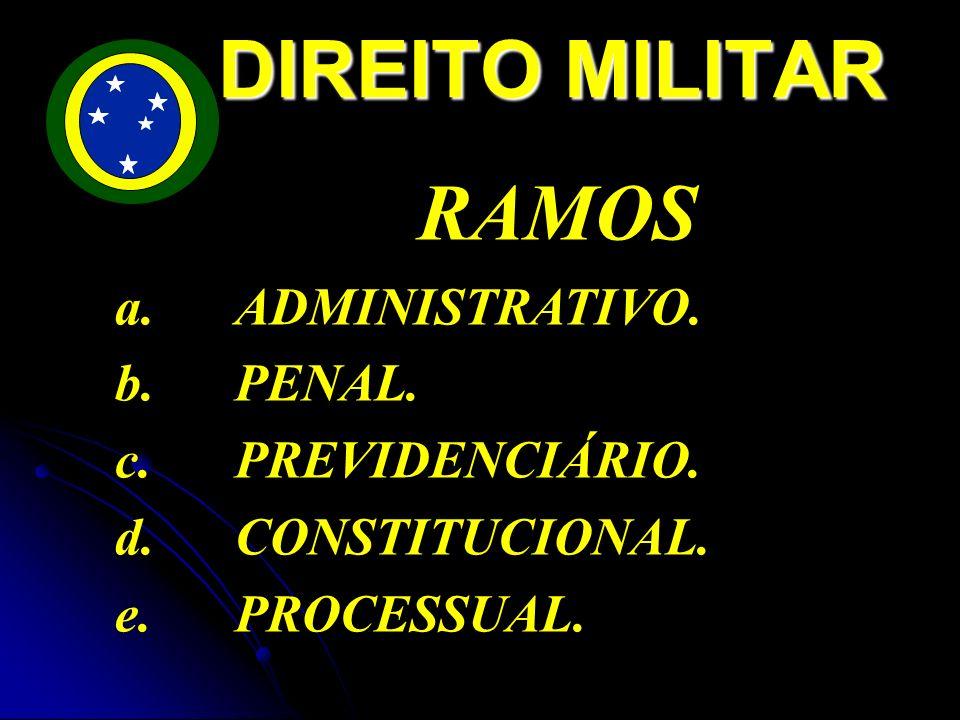 DIREITO MILITAR RAMOS ADMINISTRATIVO. b. PENAL. PREVIDENCIÁRIO.