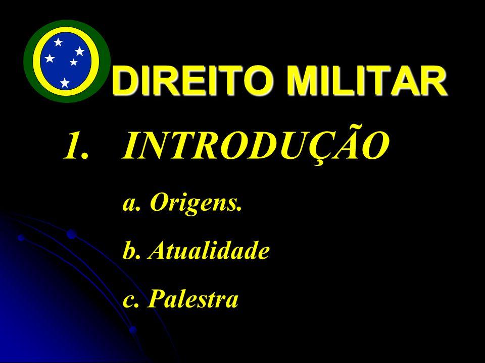 DIREITO MILITAR INTRODUÇÃO a. Origens. b. Atualidade c. Palestra