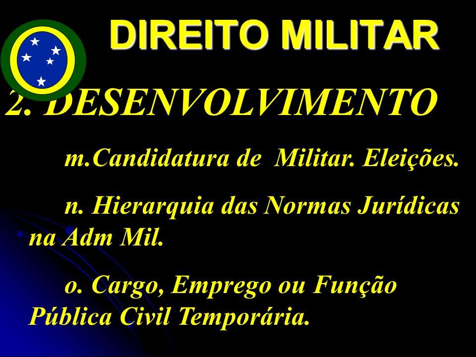 DIREITO MILITAR 2. DESENVOLVIMENTO m.Candidatura de Militar. Eleições.