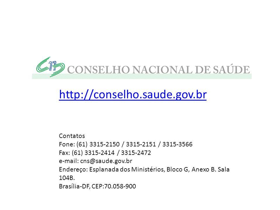 http://conselho.saude.gov.br Contatos