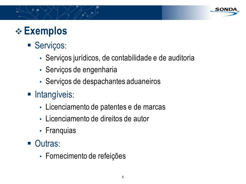 Exemplos Serviços: Intangíveis: Outras: