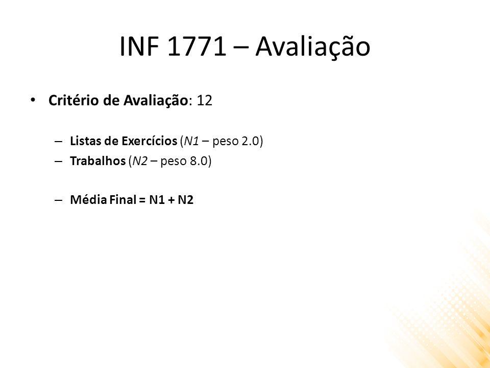 INF 1771 – Avaliação Critério de Avaliação: 12