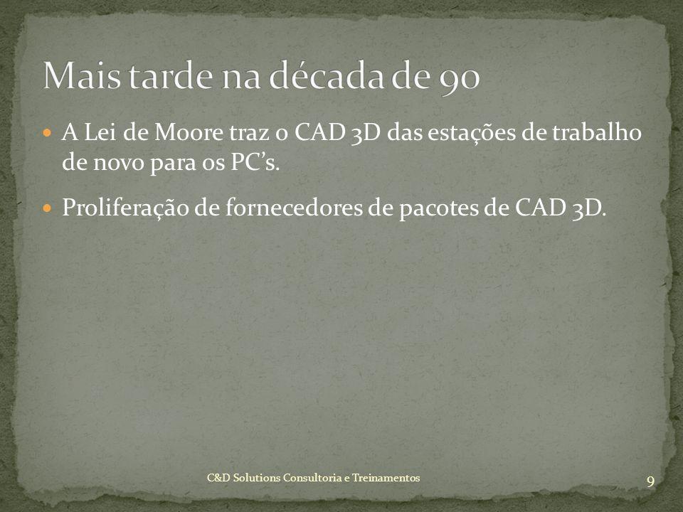 Mais tarde na década de 90 A Lei de Moore traz o CAD 3D das estações de trabalho de novo para os PC's.