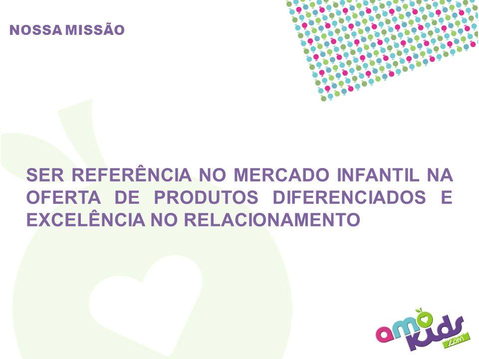 NOSSA MISSÃO SER REFERÊNCIA NO MERCADO INFANTIL NA OFERTA DE PRODUTOS DIFERENCIADOS E EXCELÊNCIA NO RELACIONAMENTO.