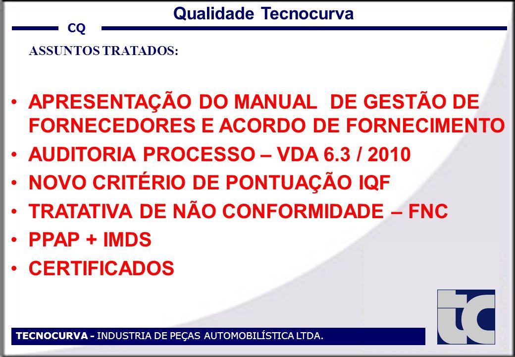 AUDITORIA PROCESSO – VDA 6.3 / 2010 NOVO CRITÉRIO DE PONTUAÇÃO IQF