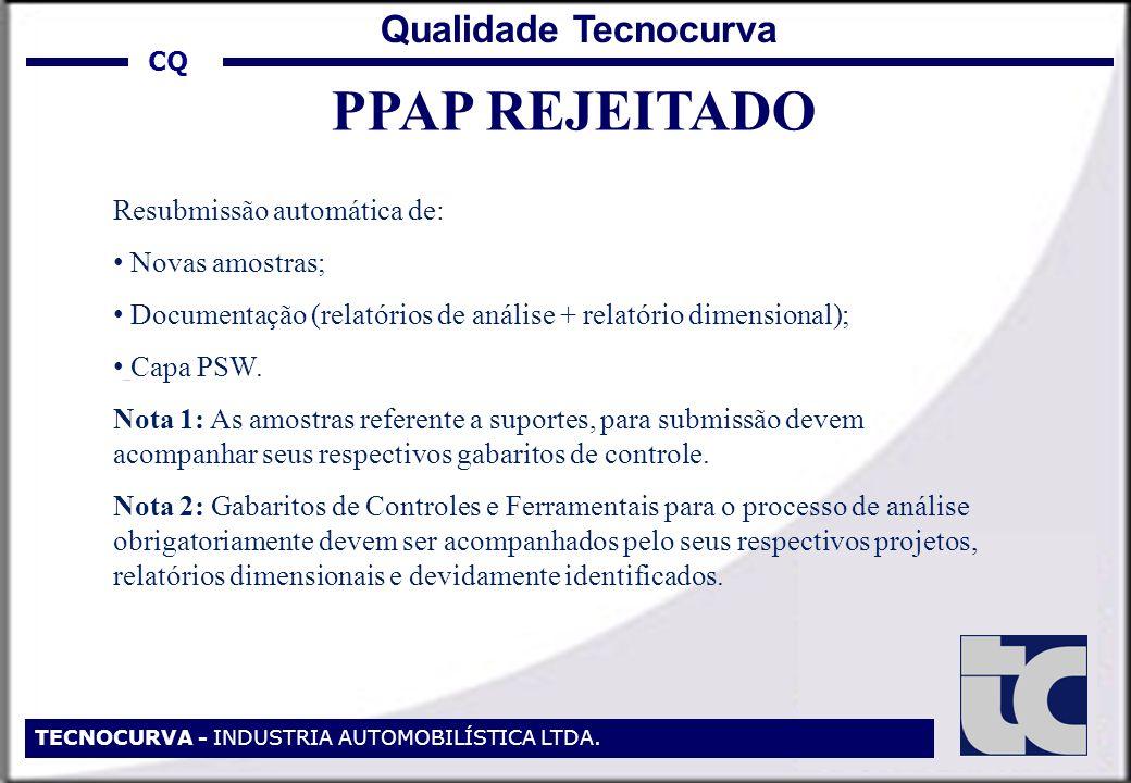 PPAP REJEITADO Qualidade Tecnocurva Resubmissão automática de: