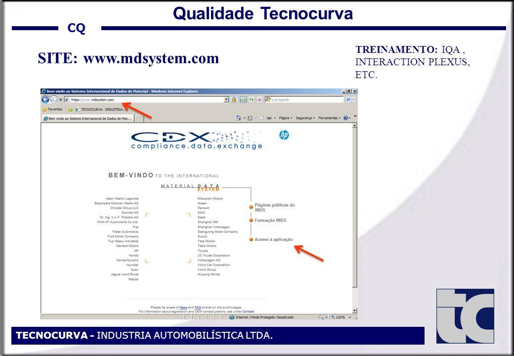 Qualidade Tecnocurva SITE: www.mdsystem.com CQ