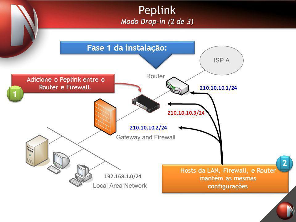 Peplink Fase 1 da instalação: 1 2 Modo Drop-in (2 de 3)