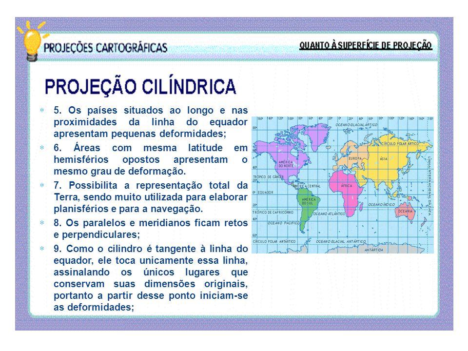 5. Os países situados ao longo e nas proximidades da linha do equador apresentam pequenas deformidades;