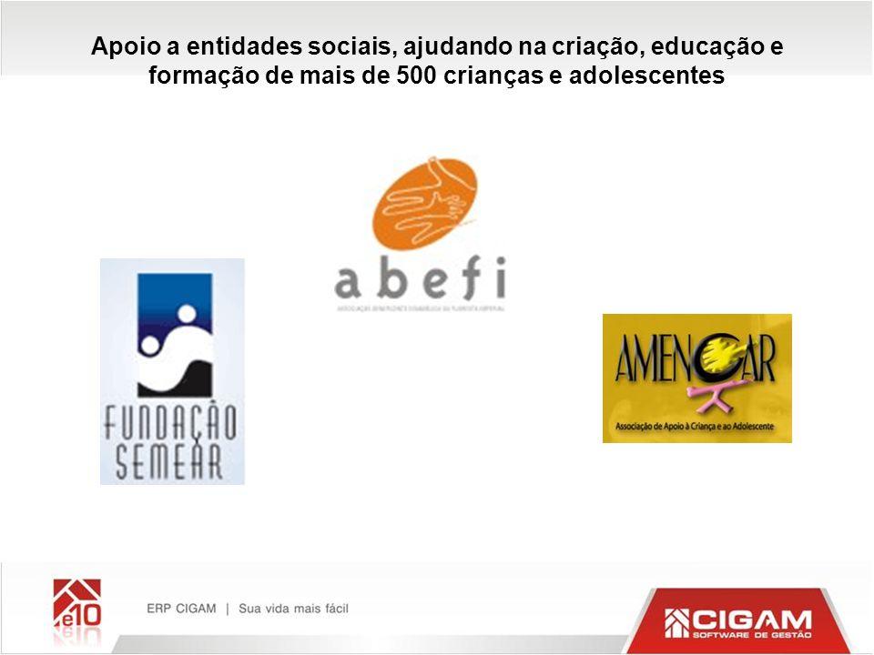 Apoio a entidades sociais, ajudando na criação, educação e formação de mais de 500 crianças e adolescentes