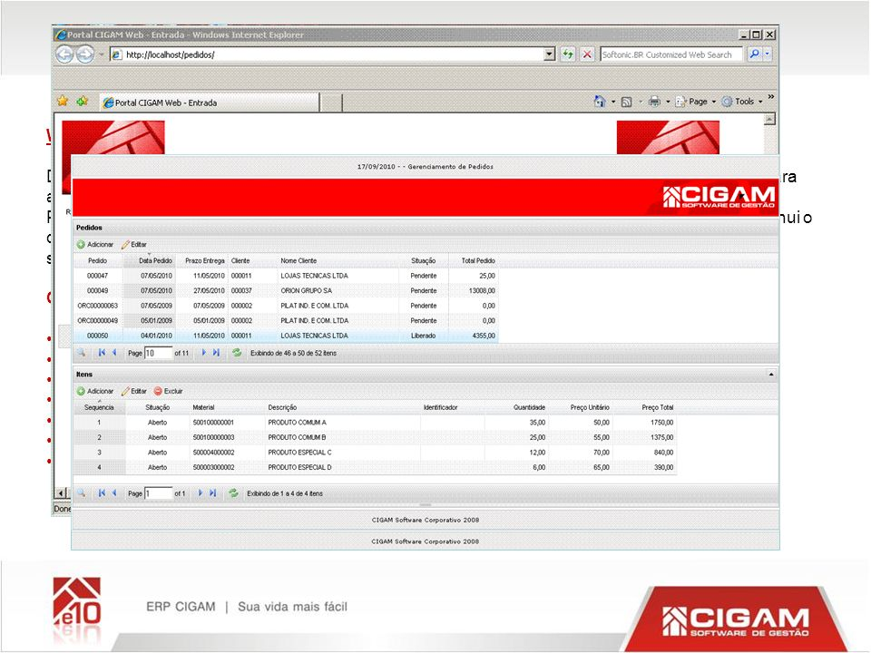 Web pedidos o-line WEB PEDIDOS