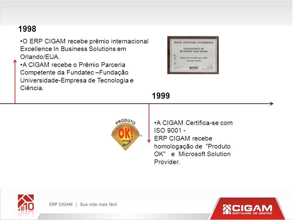 1998 O ERP CIGAM recebe prêmio internacional Excellence In Business Solutions em Orlando/EUA.