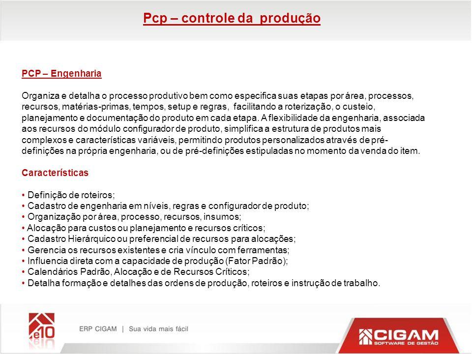 Pcp – controle da produção