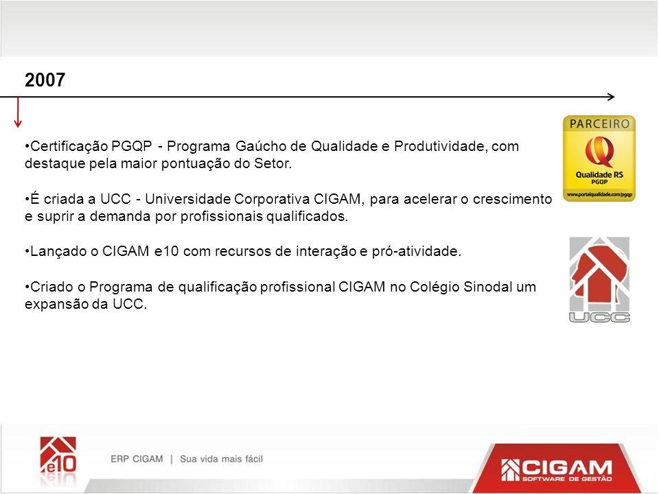 2007Certificação PGQP - Programa Gaúcho de Qualidade e Produtividade, com destaque pela maior pontuação do Setor.