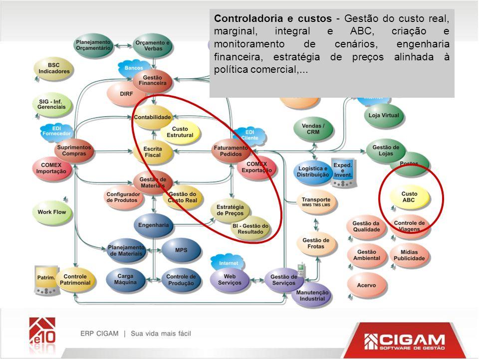 Controladoria e custos - Gestão do custo real, marginal, integral e ABC, criação e monitoramento de cenários, engenharia financeira, estratégia de preços alinhada à política comercial,...