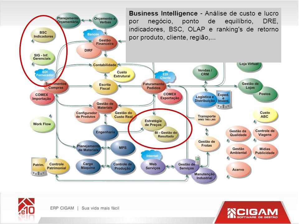 Business Intelligence - Análise de custo e lucro por negócio, ponto de equilíbrio, DRE, indicadores, BSC, OLAP e ranking s de retorno por produto, cliente, região,...