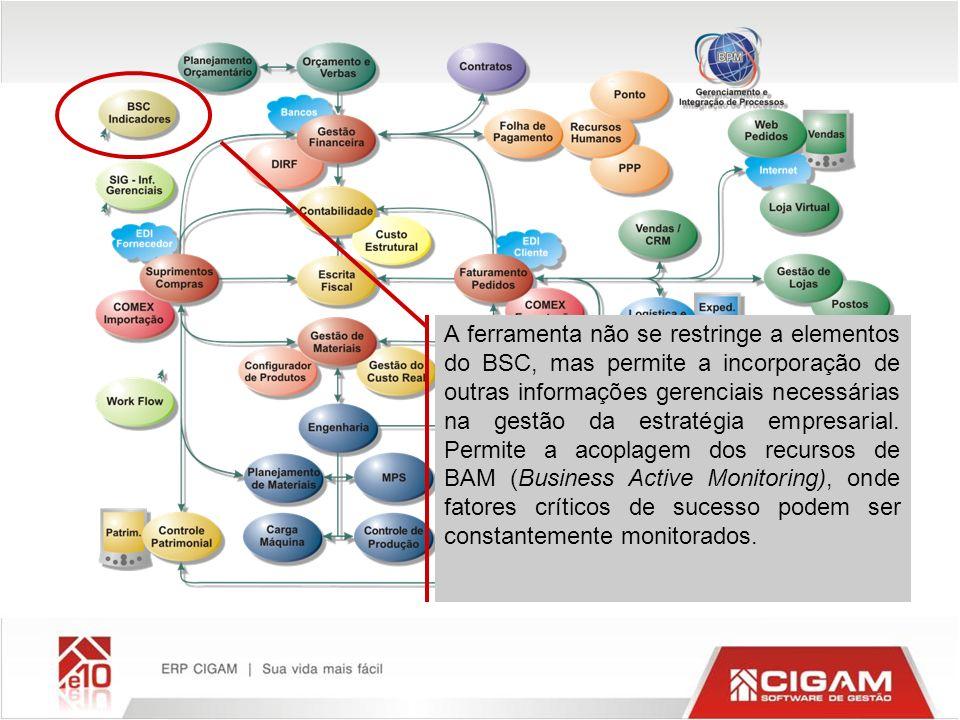 A ferramenta não se restringe a elementos do BSC, mas permite a incorporação de outras informações gerenciais necessárias na gestão da estratégia empresarial.